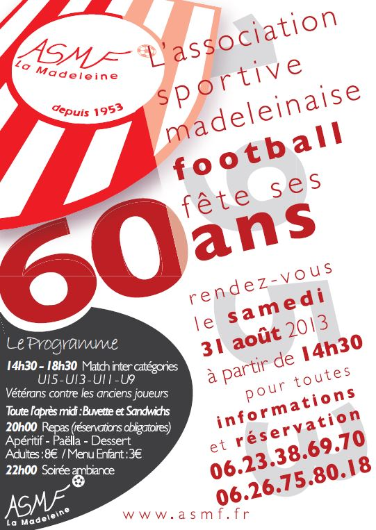 60° Anniversaire ASMFootball 31/08/2013