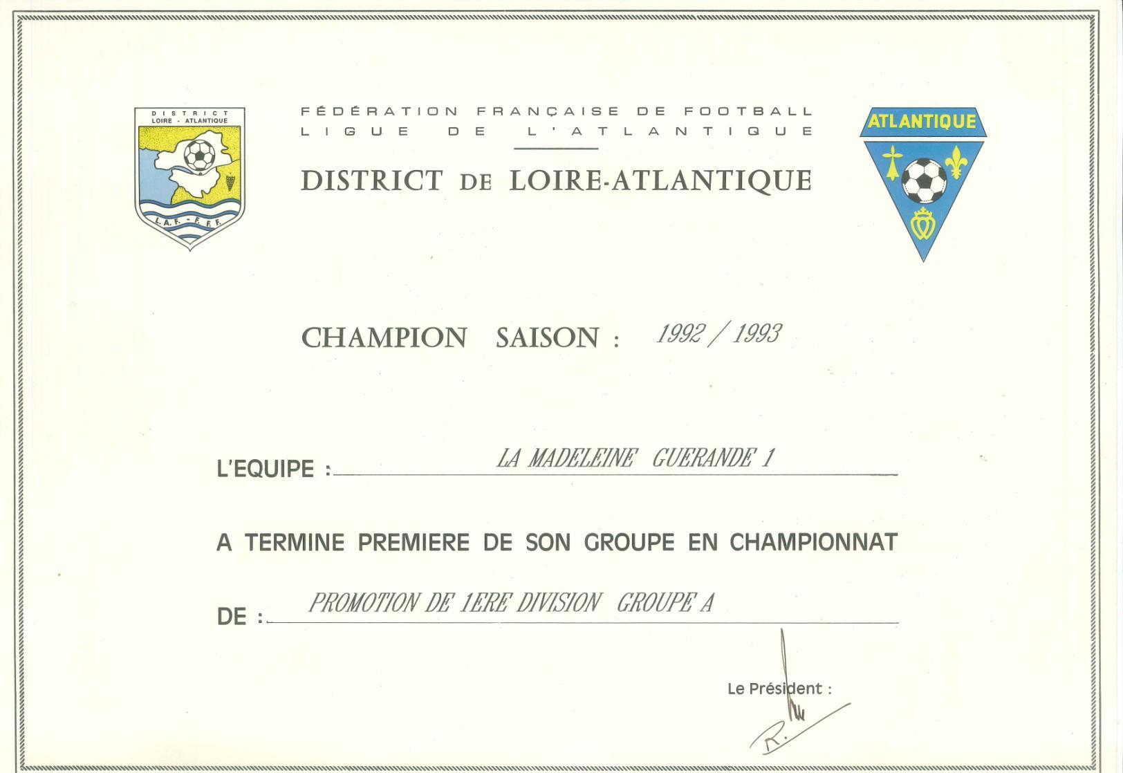 Champion de Promotion de première division (1992 – 1993)